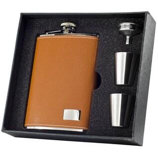 Visol Wrangler Tan Supreme II Flask Gift Set - 8 ounces