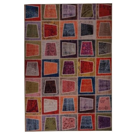 Handmade Printed Bursa Multi Vintage Print Rug (India) - 5' x 8'