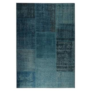 Link to Handmade Kony Turquoise Vintage Print Rug (India) - 5' x 8' Similar Items in Transitional Rugs