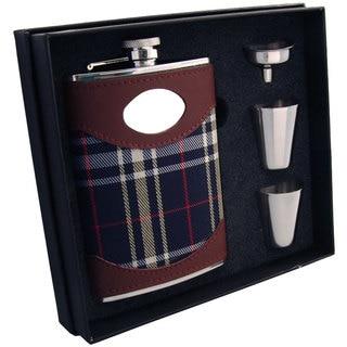 Visol Preston Leather & Navy Plaid Supreme II Flask Gift Set - 8 ounces