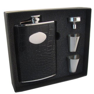 "Visol ""Noir"" Crocodile Leather Stainless Steel Hip Flask Gift Set, 8-Ounce, Black"