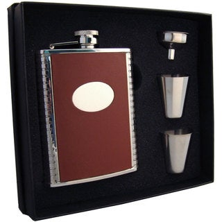 Visol Compton Brown Leather & Stainless Steel Supreme Flask Gift Set - 6 ounces