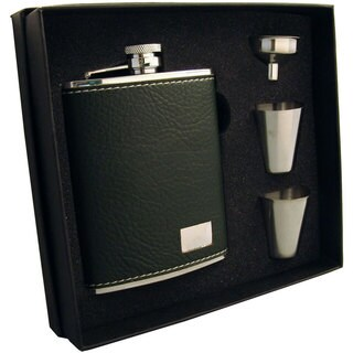 Visol Nature Dark Green Leather Supreme Flask Gift Set - 6 ounces