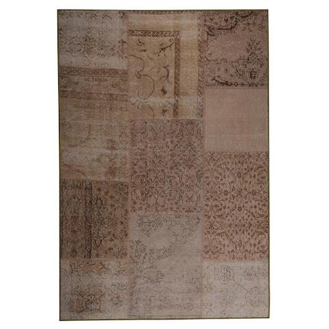 Handmade Konya Sand Vintage Print Rug (India) - 5' x 8'