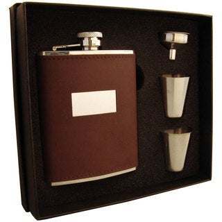 Visol Alcide Brown Leather Supreme Flask Gift Set - 6 ounces