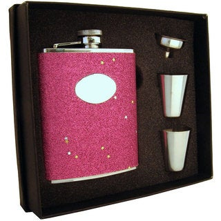Visol Carina Red Glitter Supreme Flask Gift Set - 6 ounces