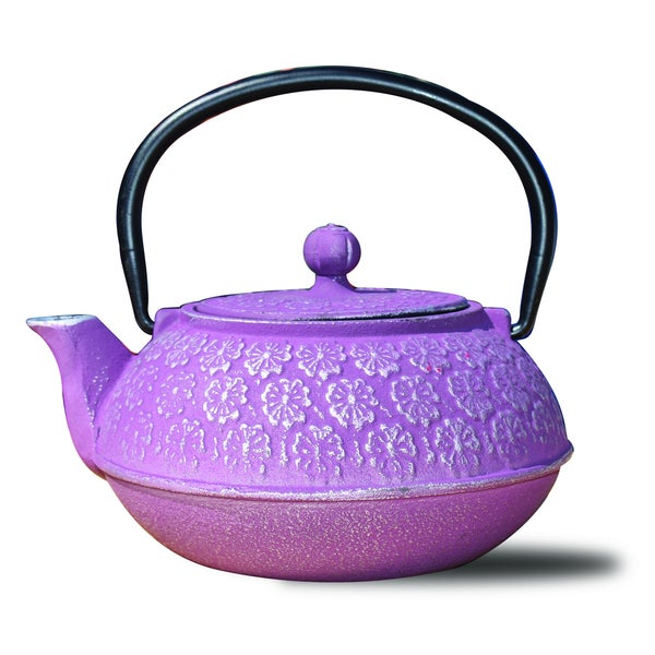 "Plum Cast Iron ""Cherry Blossom"" Teapot, 22 Ounce"