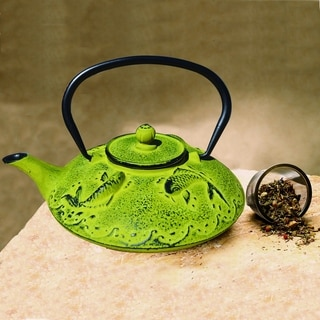 "Moss Green Cast Iron ""Ogon Koi"" Teapot, 25 Ounce"