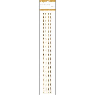"Self-Adhesive 3mm Rhinestone Strips 12"" 4/Pkg-Antique Gold"