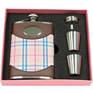 Visol Lola Leather & Pink Plaid Sassy Flask Gift Set - 8 ounces