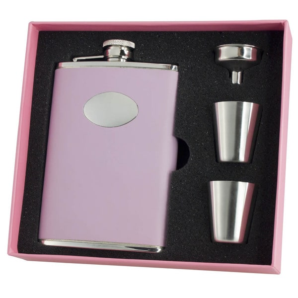 Visol Daydream Pink Leather Sassy Flask Gift Set - 8 ounces