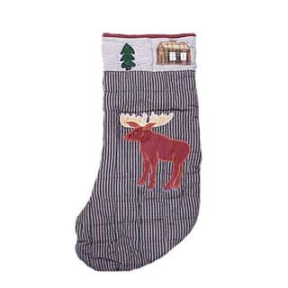 patch magic country style stocking with moose motif - Blue Christmas Stocking