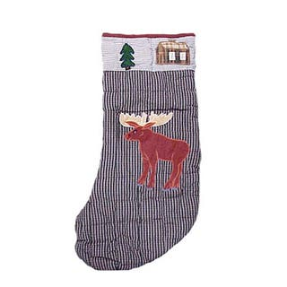patch magic country style stocking with moose motif - Blue Christmas Stockings