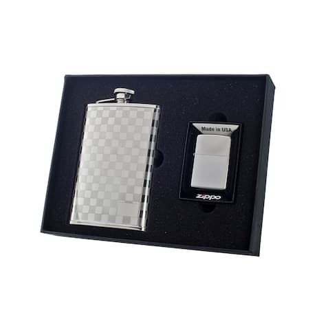 """Visol """"Mate"""" Flask and Zippo Lighter Gift Set, 8-Ounce"""