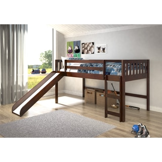 Donco Kids Mission Dark Cappuccino Low Twin Loft with Slide
