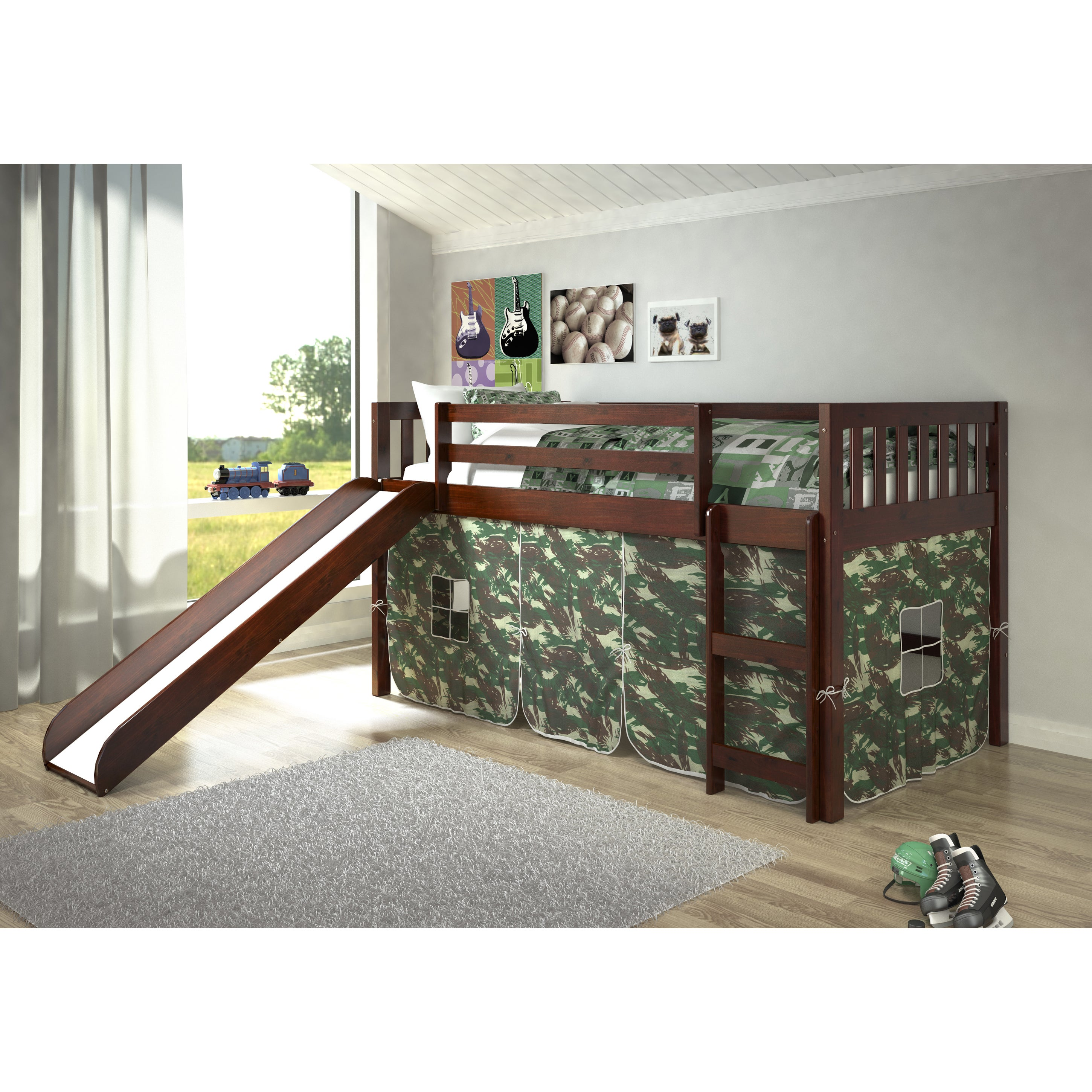 Donco Kids Mission Tent Loft Dark Cappuccino Twin Bed wit...