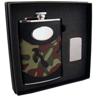 Visol GI Joe Green Camouflage Elite Flask & Zippo Lighter Gift Set - 8 ounces