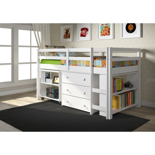Donco Kids Low Study Brazilian Pine Loft Desk Twin Bed with Chest and Bookcase
