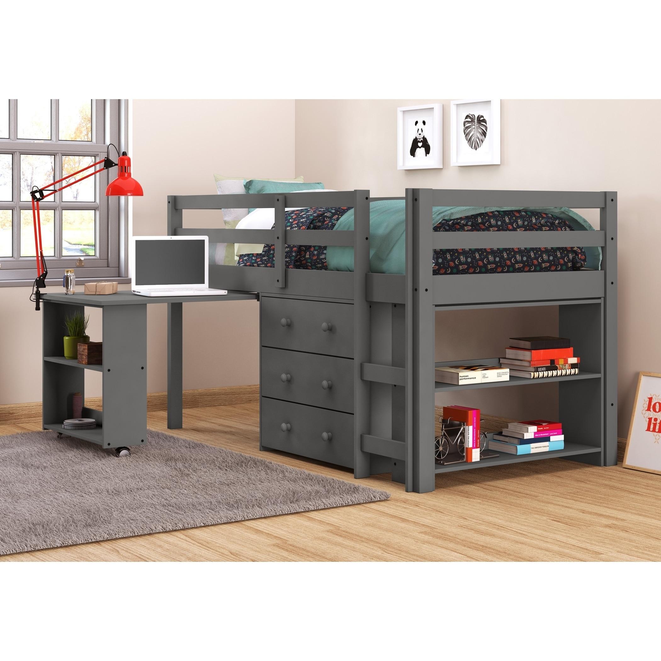 Donco Kids Low Study Loft Desk Twin Bed