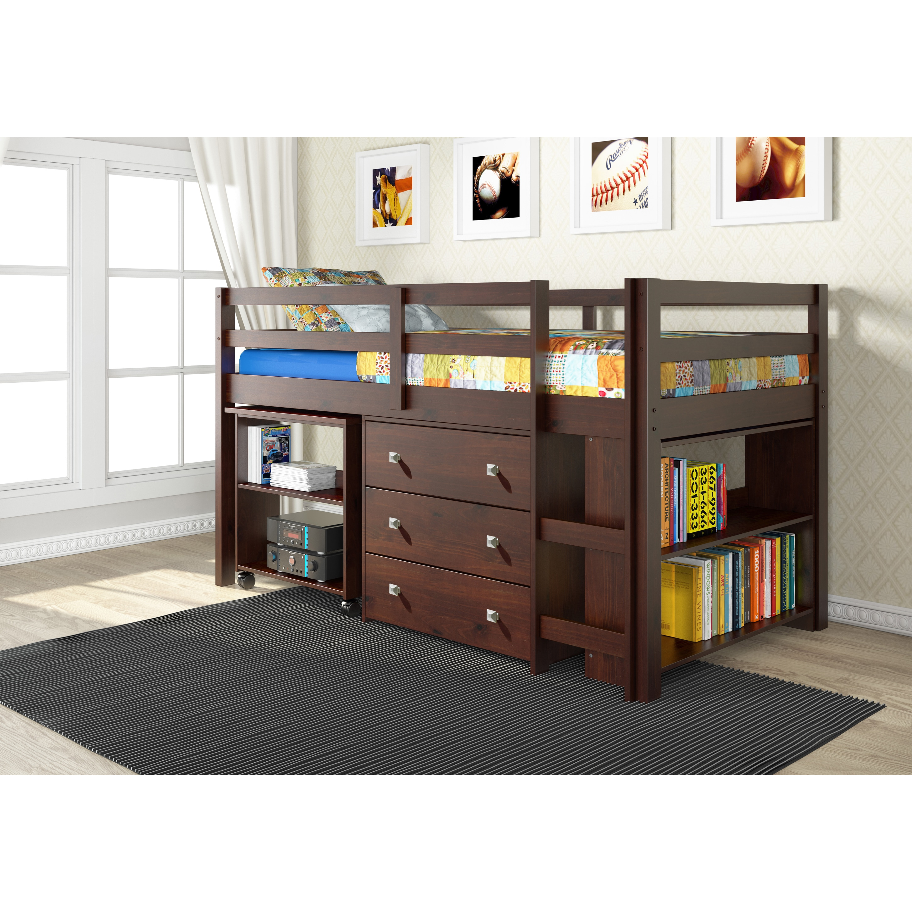 Donco Kids Low Study Loft Desk Twin Bed with Chest and Bo...