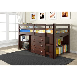 Donco Kids Low Study Loft Desk Twin Bed with Chest and Bookcase (2 options available)