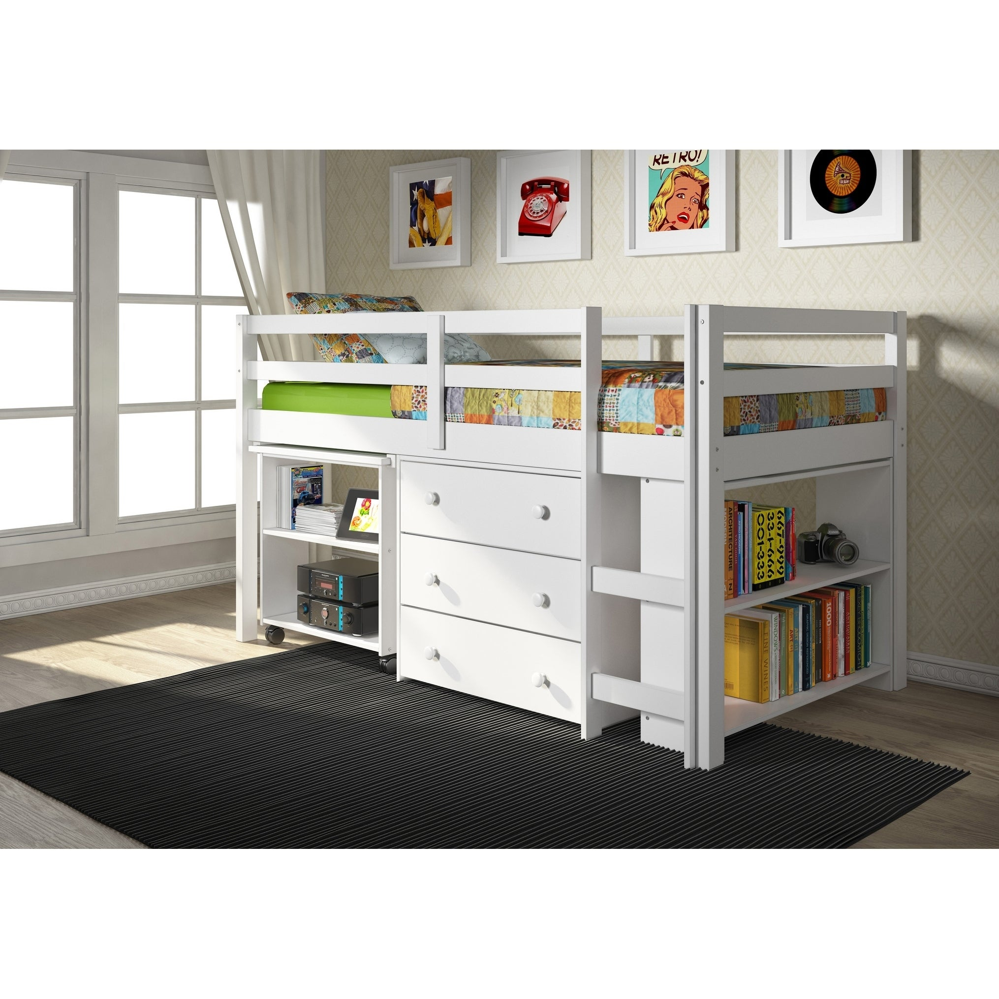 kids storage bed. Donco Kids Low Study Loft Desk Twin Bed With Chest And Bookcase Kids Storage Bed V