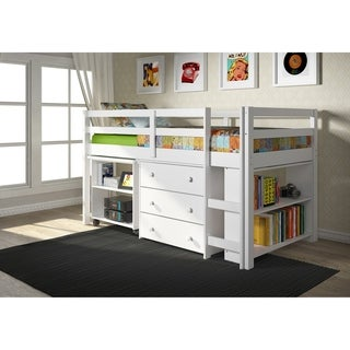 Donco Kids Low Study Loft Desk Twin Bed with Chest and Bookcase (Option: Brown)