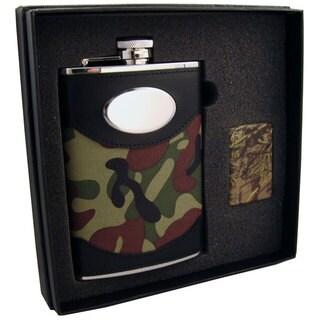 Visol GI Joe Green Camouflage Elite Flask & Zippo Realtree HD Lighter Gift Set - 8 ounces