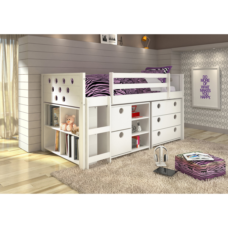 Donco Kids Circles Modular Low Loft Twin Bed (White - Whi...