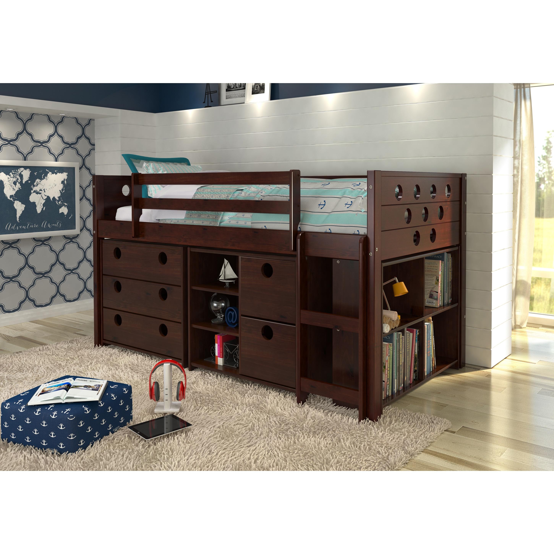Donco Kids Circles Modular Low Loft Twin Bed (Cappuccino ...