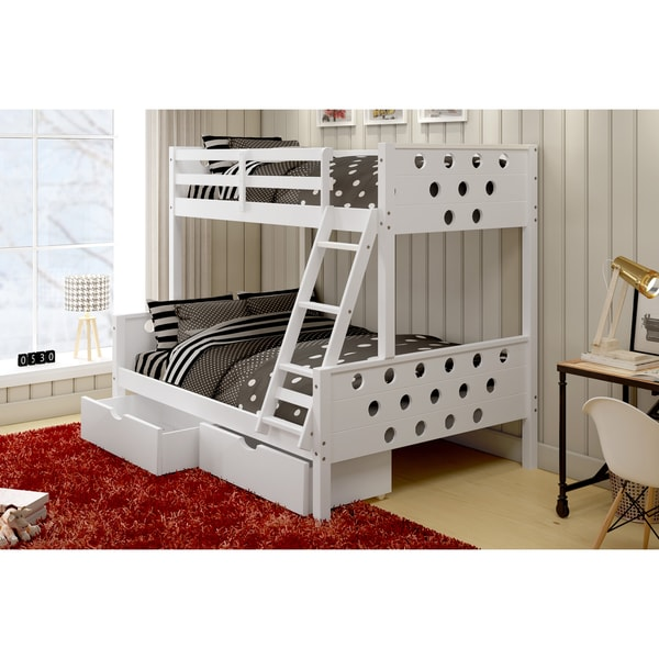 Donco kids circles twin over full bunk bed with under bed storage drawers free shipping today - Loft bed with drawers underneath ...