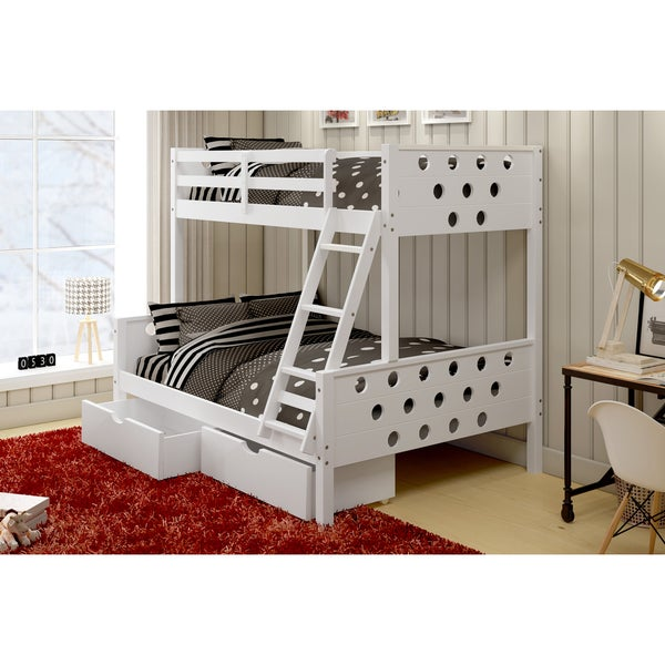 Donco kids circles twin over full bunk bed with under bed storage drawers free shipping today - Kids bed with drawers underneath ...