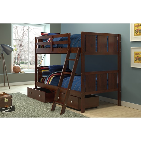 Donco kids twin over twin bunk bed with storage drawers free shipping today - Kids twin beds with storage drawers ...