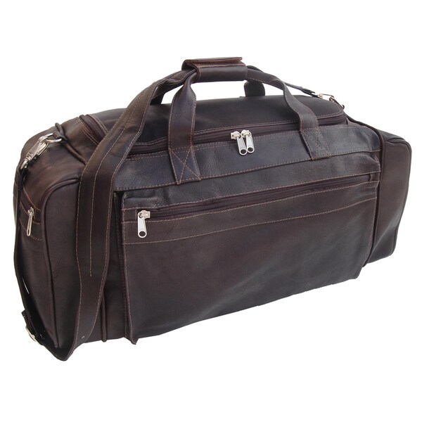 Shop Piel Leather Chocolate 23-inch Large Duffel Bag - Free Shipping Today  - Overstock - 10840673 af272ec40e482