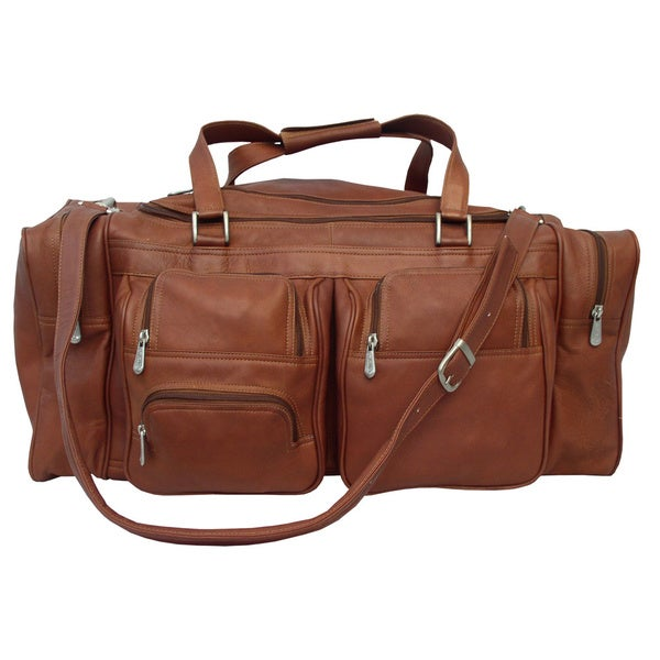 Shop Piel Leather 24-inch Duffel with Pockets - Free Shipping Today ... 4969fbc6e7b65