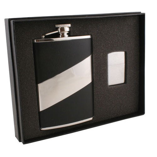 Visol Descent Black Leather Elite Flask Zippo Lighter Gift Set 8 Ounce Overstock 10840684