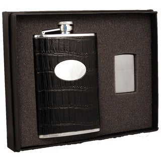 Visol Fantastique Black Crocodile Pattern Elite Flask & Zippo Lighter Gift Set - 8 ounces