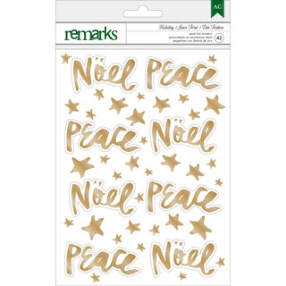 American Crafts Holiday Remarks Foil Stickers-Gold Noel & Peace