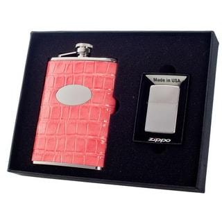 Visol Merveilleux Pink Crocodile Pattern Elite Flask & Zippo Lighter Gift Set - 8 ounces