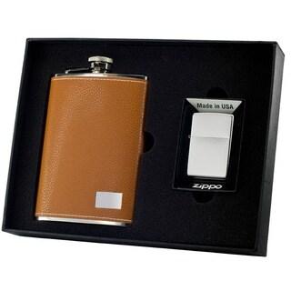 Visol Wrangler Tan Elite Flask & Zippo Lighter Gift Set - 8 ounces