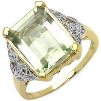 Malaika 14K Yellow Gold Plated 4.35 Carat Genuine Green Amethyst and White Topaz .925 Sterling Silver Ring