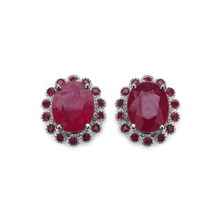 Olivia Leone 7.78 Carat Genuine Glass Filled Ruby and Ruby .925 Sterling Silver Earrings