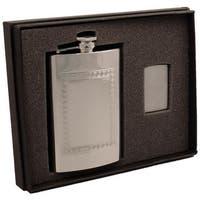 Visol Theseus Greek Design Stainless Steel Elite Flask & Zippo Lighter Gift Set - 8 ounces