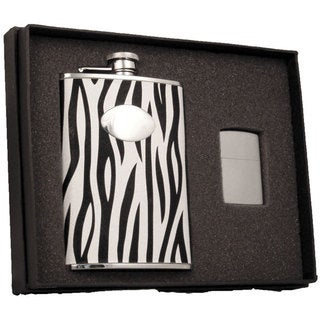 Visol Zebra Black & White Leather Elite Flask & Zippo Lighter Gift Set - 8 ounces