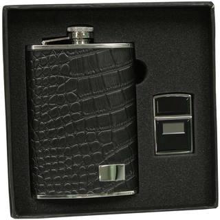 Visol Gator Black Textured Leather Elite Flask & Zippo Ultralite Lighter Gift Set - 8 ounces