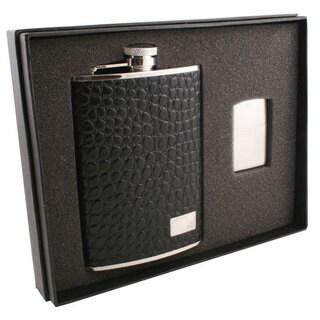 Visol Gator Black Textured Leather Elite Flask & Zippo Lighter Gift Set - 8 ounces