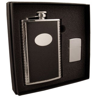 Visol Tux Black Leather and Stainless Steel Elite Flask & Zippo Lighter Gift Set - 8 ounces