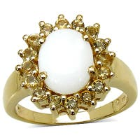 Malaika 14K Yellow Gold Plated 2.60 Carat Genuine Opal and Citrine .925 Streling Silver Ring