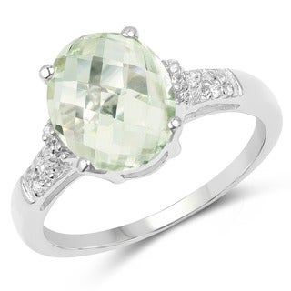 Malaika 2.61 Carat Genuine Green Amethyst and White Topaz .925 Sterling Silver Ring