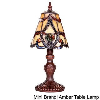 River of Goods 12-inch Tiffany Style Stained Glass Mini Hanging Head Dragonfly Accent Lamp (Option: Mini Brandi Amber Table Lamp)